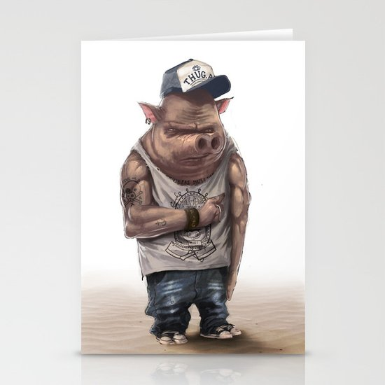 Pig Thug Stationery Cards