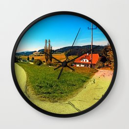 Countryside road with two options Wall Clock