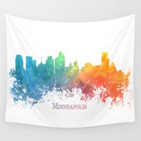 minneapolis Wall Tapestries featuring Skyline Minneapolis colored by jbjart