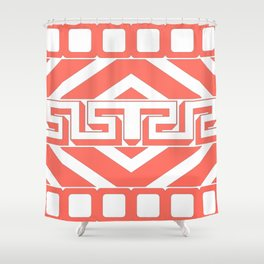 GEOMETRIC PATTERN IN LIVING CORAL Shower Curtain