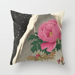 Bird and Peony Japanese Woodcut Throw Pillow