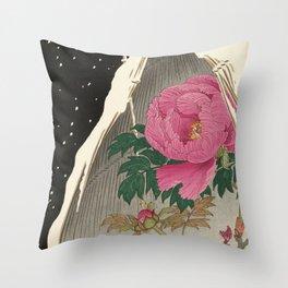 Bird and Peony Japanese Woodcut Throw Pillow