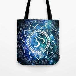 Om Mandala : Blue Green Galaxy Tote Bag