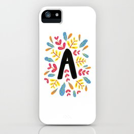 Letter 'A' Initial/Monogram With Bright Leafy Border iPhone Case