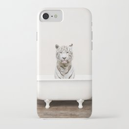 White Tiger in a Vintage Bathtub (c) iPhone Case