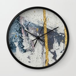 Synergy: a minimal, abstract mixed-media piece in gold, blue, and purple by Alyssa Hamilton Art Wall Clock