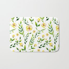 Modern hand painted yellow green watercolor spring flowers Bath Mat