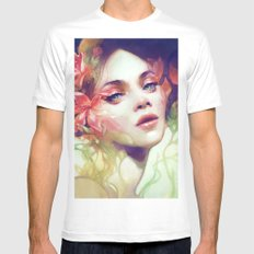August MEDIUM White Mens Fitted Tee