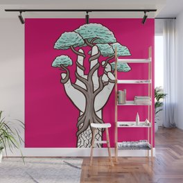 Tree growing within a hand – interlacing of nature and humanity Wall Mural