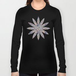 Muted Colors Flower Field, Soft Moss Green Leaves &  Intricate Petrol Blue Floral Blooms Pattern Long Sleeve T-shirt
