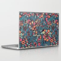 spring Laptop & iPad Skins featuring Sweet Spring Floral - melon pink, butterscotch & teal by micklyn