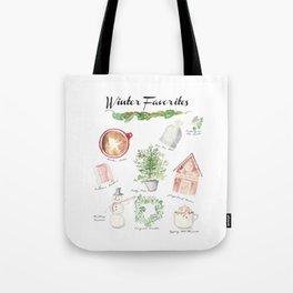 Winter Favorites in Watercolor Tote Bag