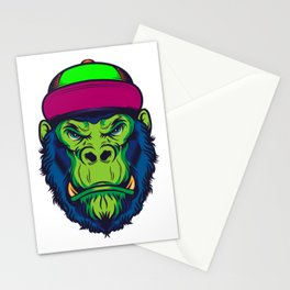 Gorilla Monkey Hipster Cap Cool Gift Stationery Cards