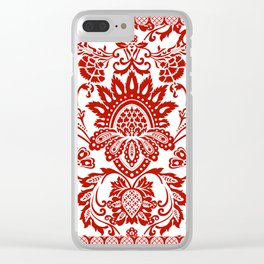 Damask in red Clear iPhone Case