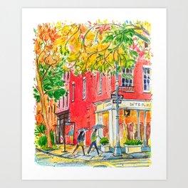 Rainy day in Manhattan  Art Print