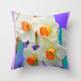 WHITE-GOLD NARCISSUS FLOWERS LAVENDER GARDEN Throw Pillow