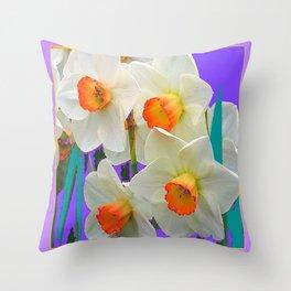 WHITE-GOLD NARCISSUS FLOWERS LAVENDER GARDEN Throw Pillow