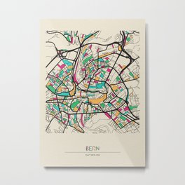 Colorful City Maps: Bern, Switzerland Metal Print