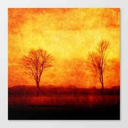 Lone trees on an English winters day  Canvas Print