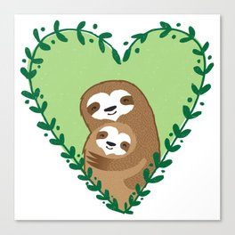 The Family Sloth Canvas Print