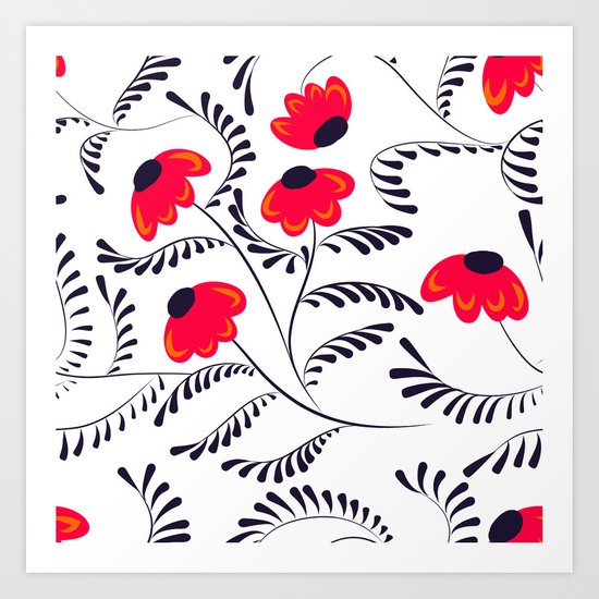 The floral pattern . Red flowers with black leaves . Art Print