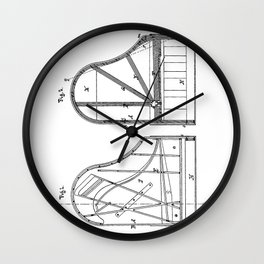 Steinway Grand Piano Patent - Piano Player Art - Black And White Wall Clock