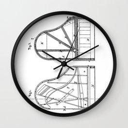 Steinway Grand Piano Patent - Piano Player Art - Black And White Wall Clock