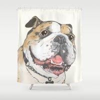 bulldog Shower Curtains featuring bulldog  by Laura Graves