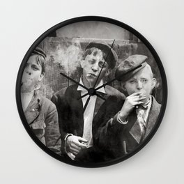Newsies Boys Smoking Lewis Hine 1910 Wall Clock