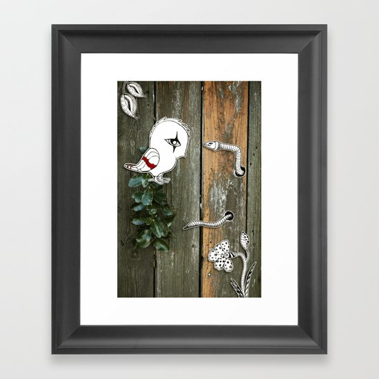 Theo and the Worm Framed Art Print