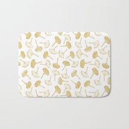 Ginkgo Biloba linocut pattern GLITTER GOLD Bath Mat