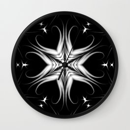 Night before... Mandala Black White Star Pattern Wall Clock