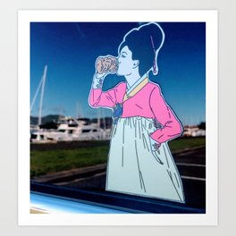 Japanese Breakfast Decal Double Exposure with Sailboads Art Print