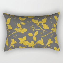 Drawings from Stonecrop Garden, Pattern in Gold & Grey Rectangular Pillow