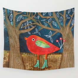 Red Bird in Galoshes Wall Tapestry