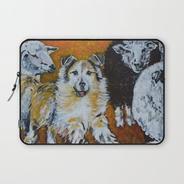 My Dog, the Border Collie and Sheep Laptop Sleeve