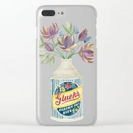 Flowers in a Vintage Beer Bottle Vase Clear iPhone Case