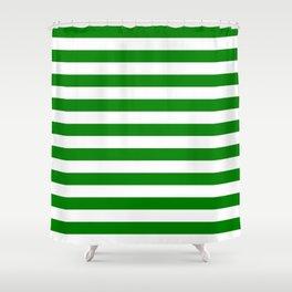 Narrow Horizontal Stripes - White and Green Shower Curtain