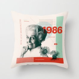 Beyond Curie: Rita Levi-Montalcini Throw Pillow