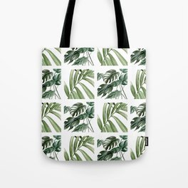 Greenery Squares Watercolor Painting Tote Bag