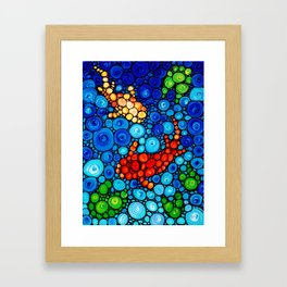 Pure Koi Joi - Mosaic Fish Art Painting by Sharon Cummings Framed Art Print