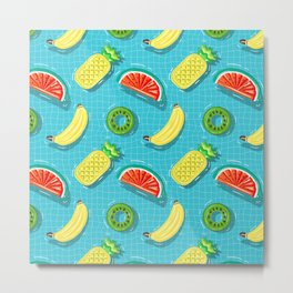 Pool Party pineapple, watermelon,banana,kiwi Metal Print
