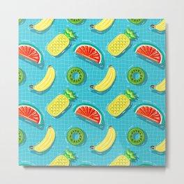 Pool Party pineapple, watermelon,banana,kiwi Metal Print