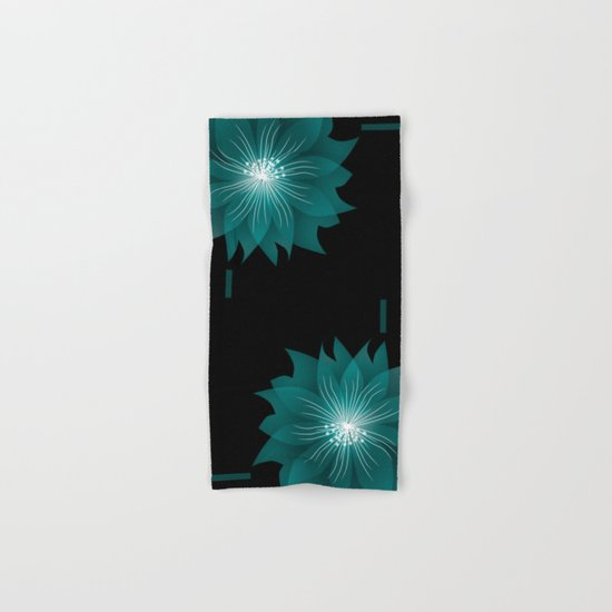 Blue flower on a black background .  Hand & Bath Towel