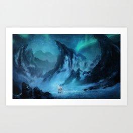 Wolf in snow landscape Art Print