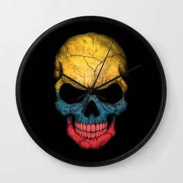 Dark Skull with Flag of Colombia Wall Clock