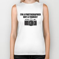 photographer Biker Tanks featuring Photographer Tourist Funny by bitobots