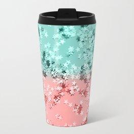 Summer Vibes Glitter Stars #1 #coral #mint #shiny #decor #art #society6 Travel Mug