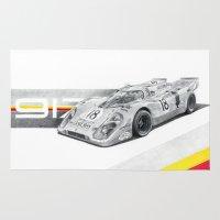porsche Area & Throw Rugs featuring Porsche 917K by sesven