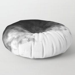 Ombre Black White Clouds Minimal Floor Pillow